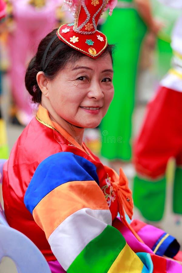 Китайская корейская этническая пожилая женщина стоковое фото