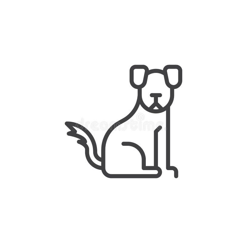 Китайская линия значок собаки зодиака иллюстрация штока