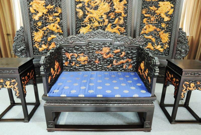китайская мебель дракона украшения королевская стоковое фото rf