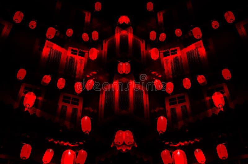 Китайская ноча: красное остервенение фонариков для ` s Нового Года стоковое изображение
