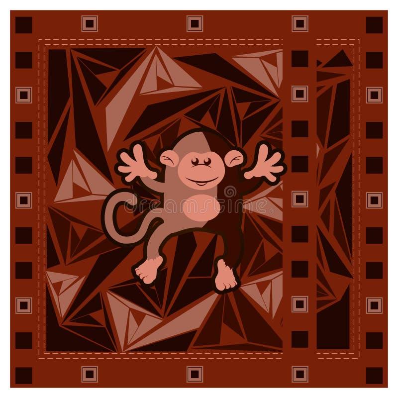 Китайская поздравительная открытка Нового Года с обезьяной на триангулярной абстрактной предпосылке бесплатная иллюстрация