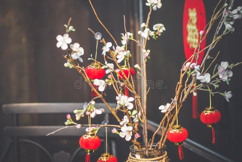 Китайская предпосылка Нового Года Красная зацветая Сакура разветвляет стоковое фото