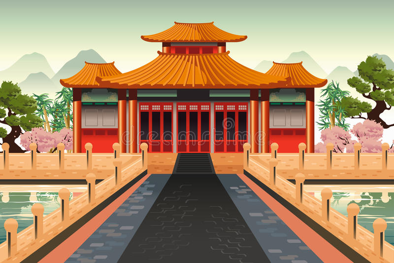 Китайская предпосылка виска иллюстрация вектора