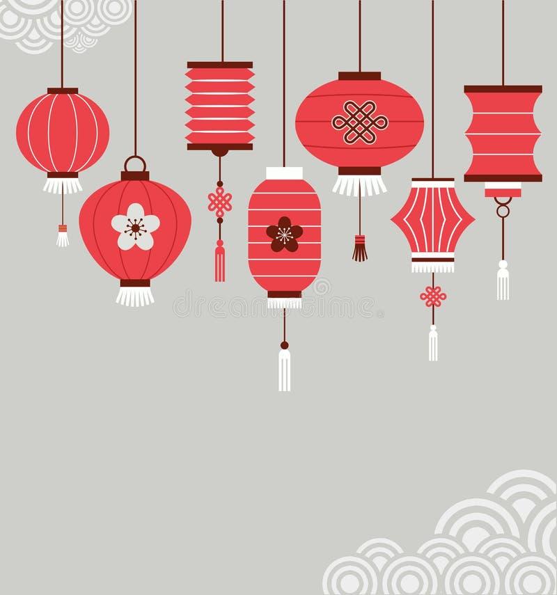 Китайская предпосылка Нового Года с фонариками иллюстрация вектора