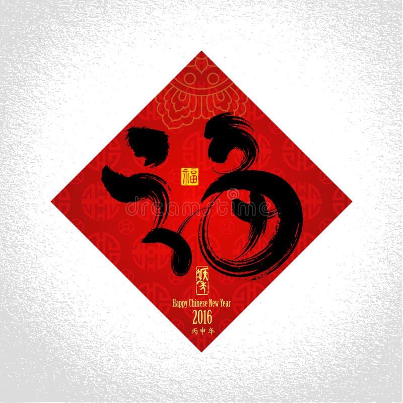 Китайская предпосылка поздравительной открытки Нового Года с обезьяной: Китайский c иллюстрация вектора