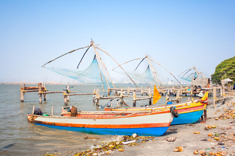 Китайская рыболовная сеть Cochin стоковое изображение