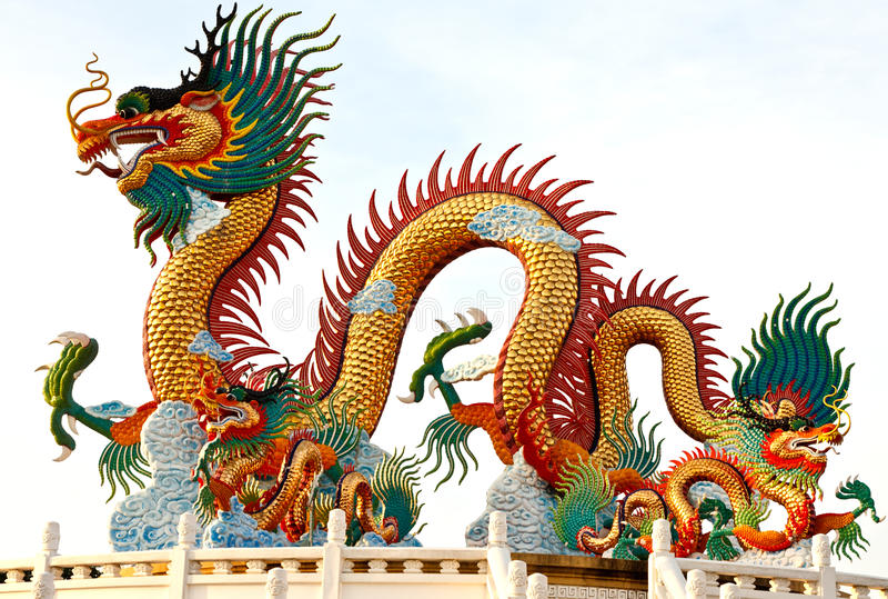 китайская статуя Таиланд дракона принятый типом стоковые фото