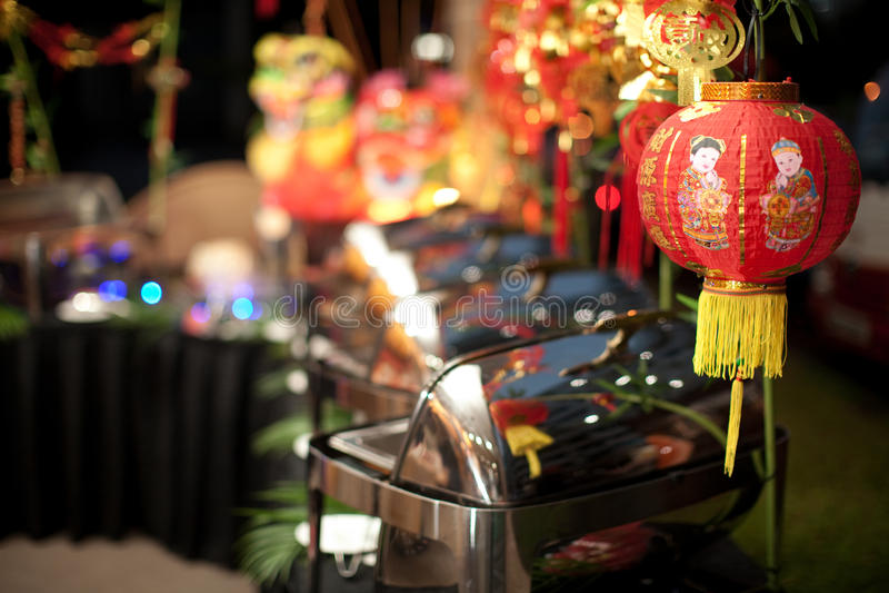 Китайская установка шведского стола Нового Года стоковые фотографии rf