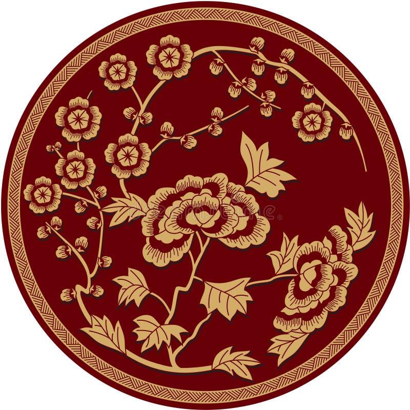 китайская флористическая картина традиционная иллюстрация вектора