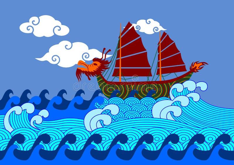 Китайская шлюпка на море иллюстрация штока