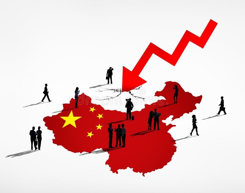Китайские бизнесмены смотря на долговой кризис иллюстрация вектора