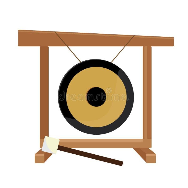 Китайские гонг и молоток иллюстрация вектора
