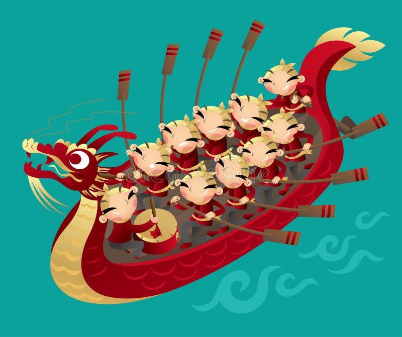 Китайские дети гребя шлюпку дракона иллюстрация вектора