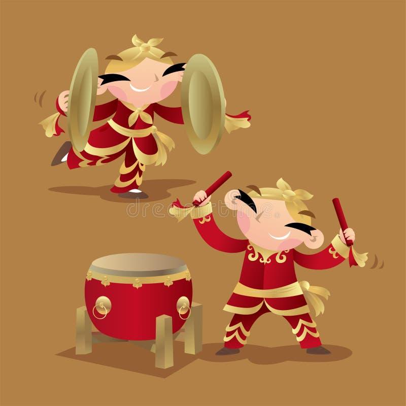 Китайские дети играя барабанчик и цимбалы иллюстрация вектора