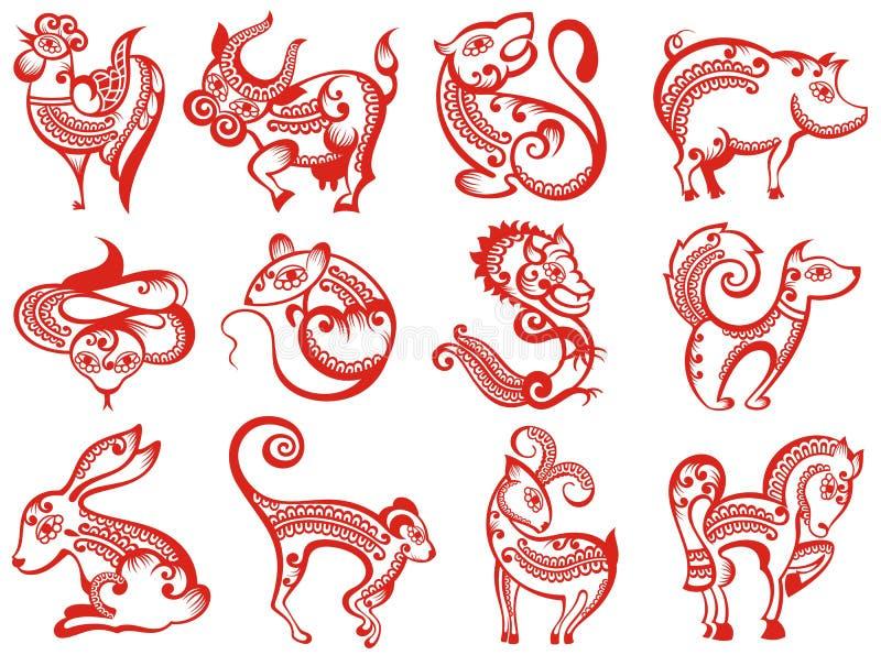 Китайские животные зодиака в стиле отрезка бумаги иллюстрация вектора