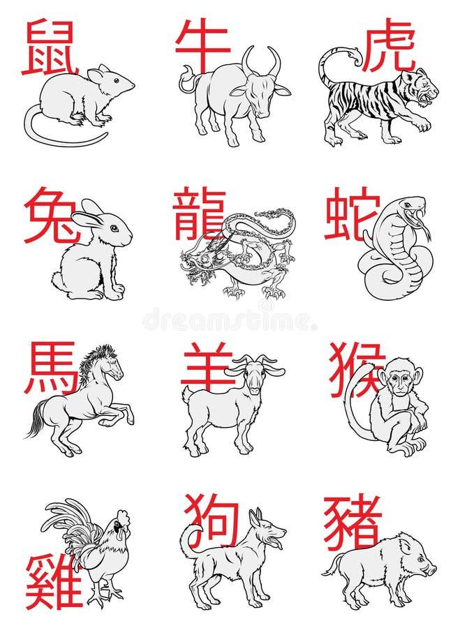 Китайские знаки зодиака Нового Года иллюстрация вектора