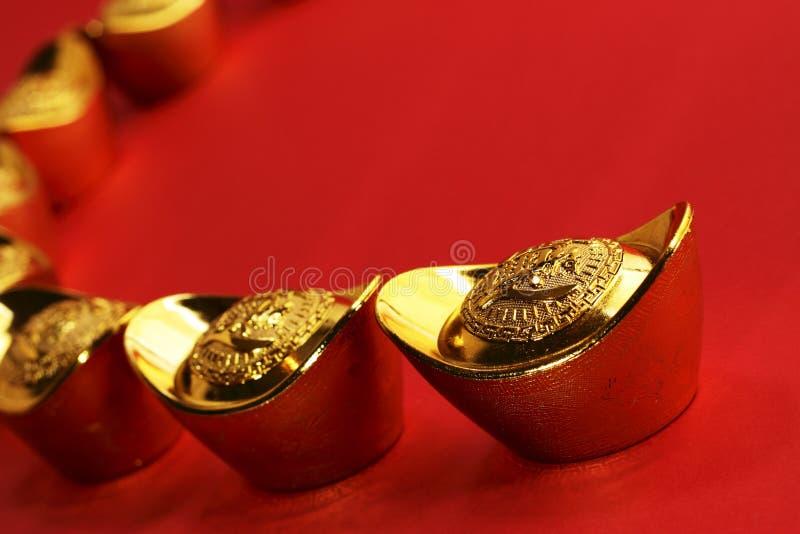 китайские золотые инготы традиционные стоковые изображения