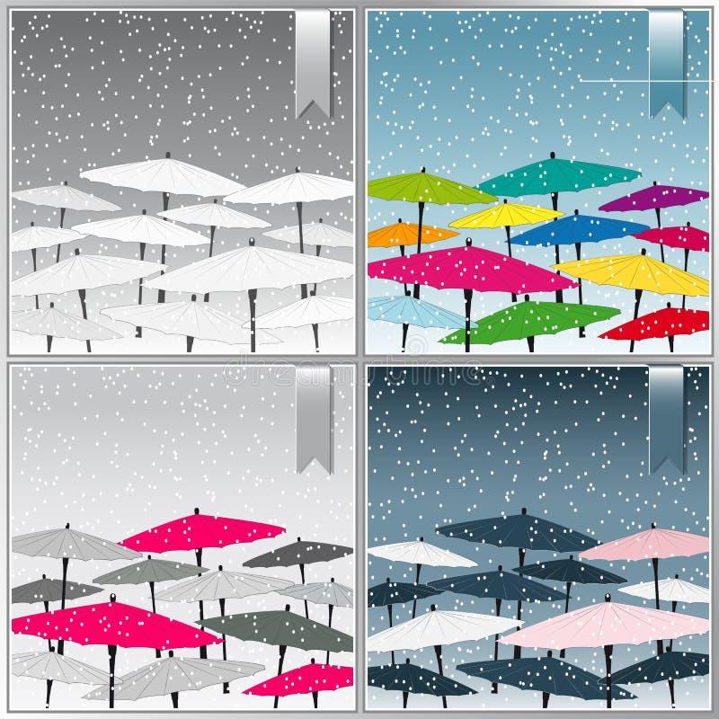 Китайские зонтики на абстрактных предпосылках иллюстрация вектора