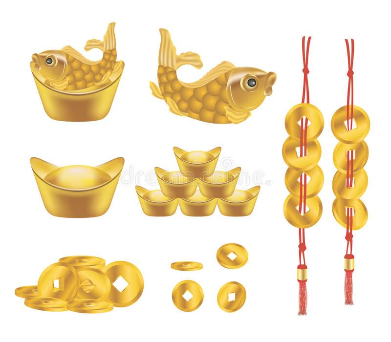 Китайские золотые слиток и монетка бесплатная иллюстрация