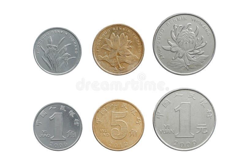 Китайские монетки юаней установили на оба сторону изолированную на белизне стоковая фотография