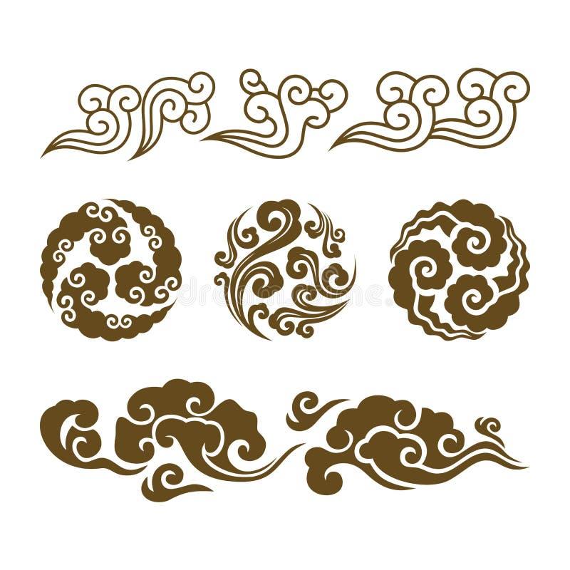 Китайские облака Азиатский набор облака свирли иллюстрация штока