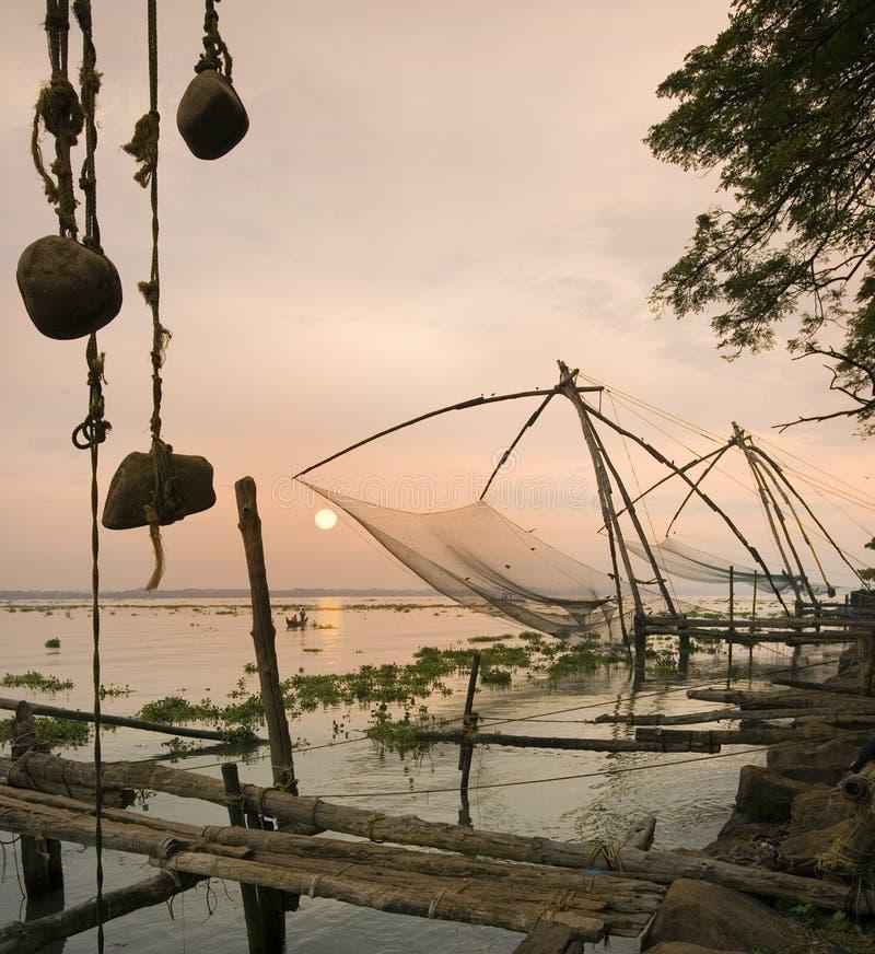 китайские сети Индии рыболовства cochin стоковое изображение rf