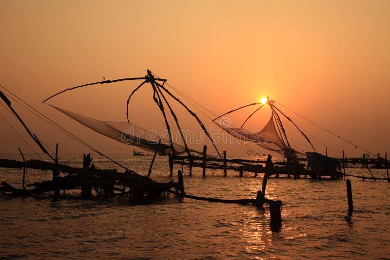 китайские сети форта рыболовства cochin стоковое фото rf
