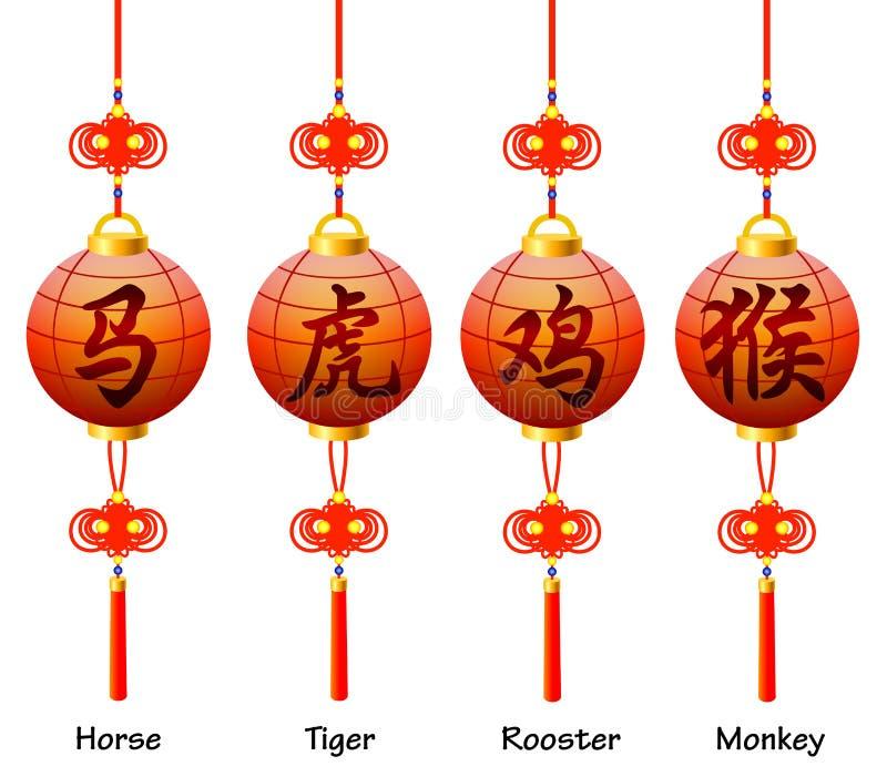 Китайские символы на фонарике. Знаки зодиака. Петух, лошадь, обезьяна, тигр иллюстрация вектора