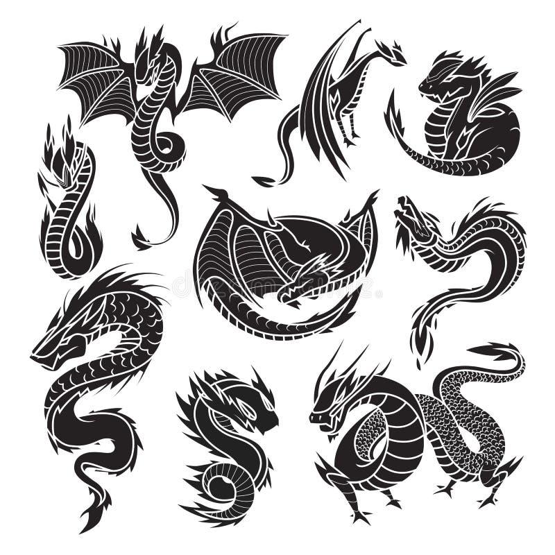 Download Китайские силуэты дракона на белой предпосылке Иллюстрация вектора - иллюстрации насчитывающей иллюстрация, украшение: 81802353