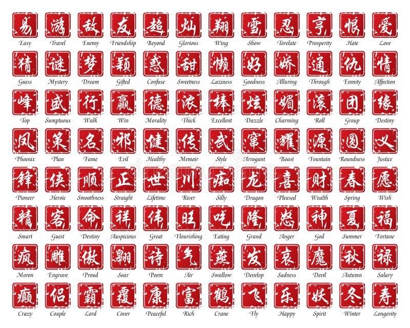 китайские слова иллюстрация вектора