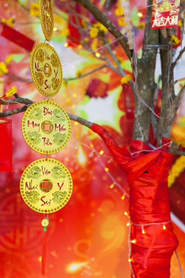 Китайские лунные украшения Tet ot Нового Года, Вьетнам стоковое изображение