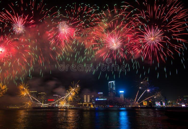 Китайские фейерверки Нового Года в Hong_Kong стоковая фотография