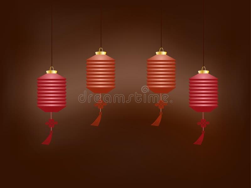 Китайские фонарики вися в полуокружности, горя в темноте бесплатная иллюстрация