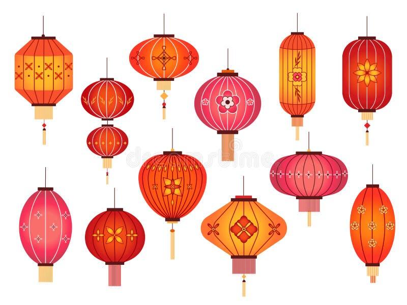 Китайские фонари украшение красной лампы уличных праздников в китае и японии Традиционные векторные элементы нового года в Азии иллюстрация вектора
