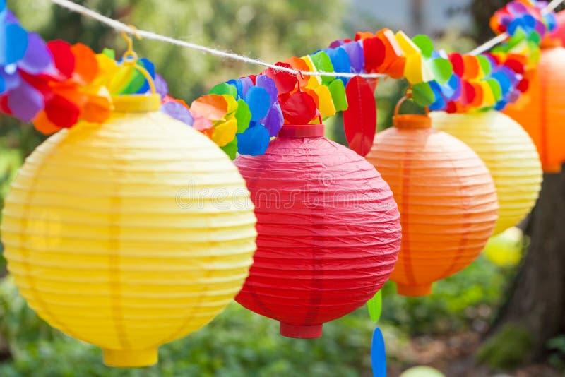 китайские цветастые фонарики стоковая фотография