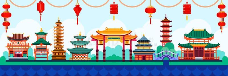 Китайские элементы дизайна городка Перемещение к иллюстрации Китая плоской Традиционная предпосылка пагоды и фонариков иллюстрация вектора