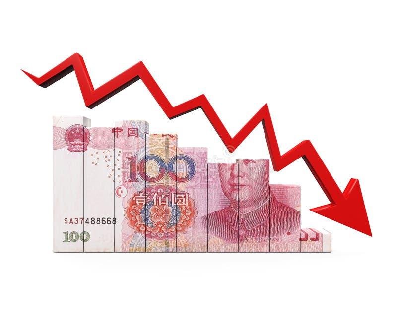 Китайские юани и красная стрелка иллюстрация вектора