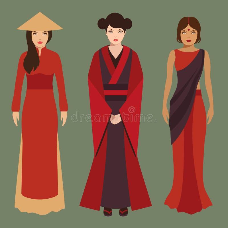 Китайские, японские и индийские женщины иллюстрация штока