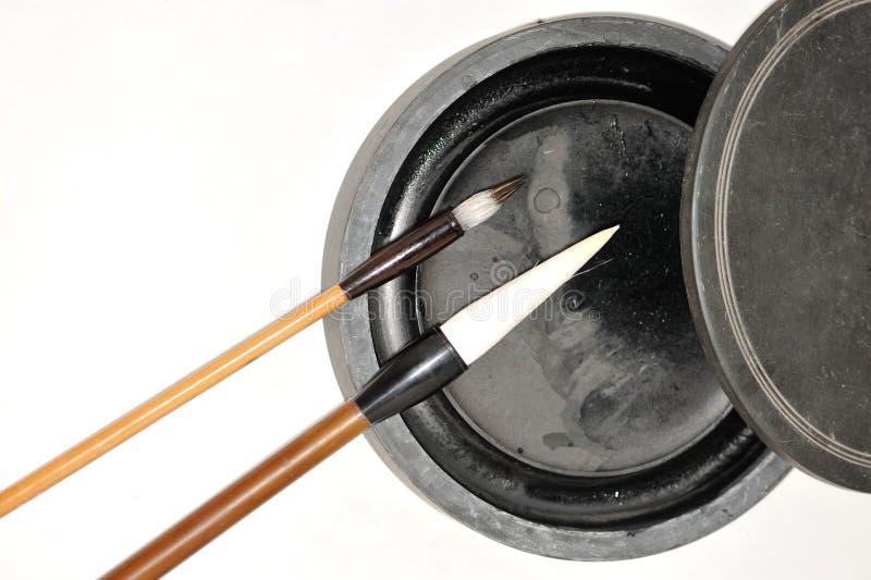 Китайские inkstone и brushs стоковое изображение