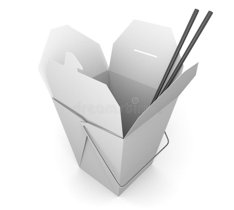 Китайские takeout коробка и палочки для азиатского фаст-фуда иллюстрация штока