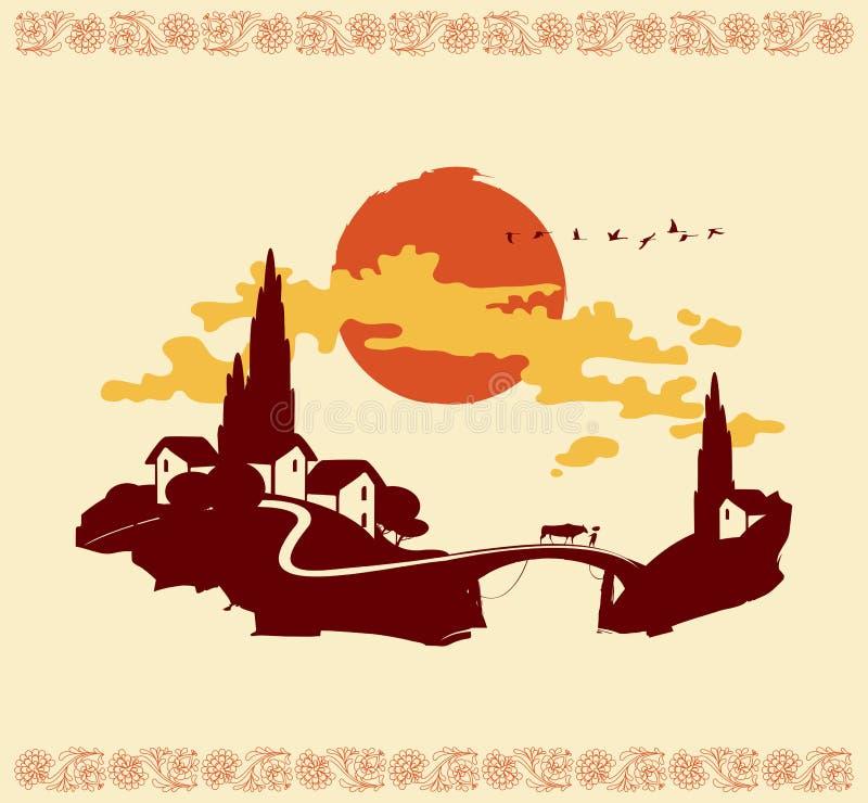 Китайский ландшафт горного села с мостом иллюстрация штока