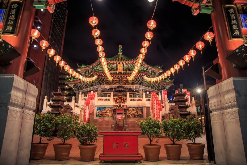 Китайский висок в Иокогама или виске виска Miao ti Kanteibyo Kuan очень известном стоковые изображения rf