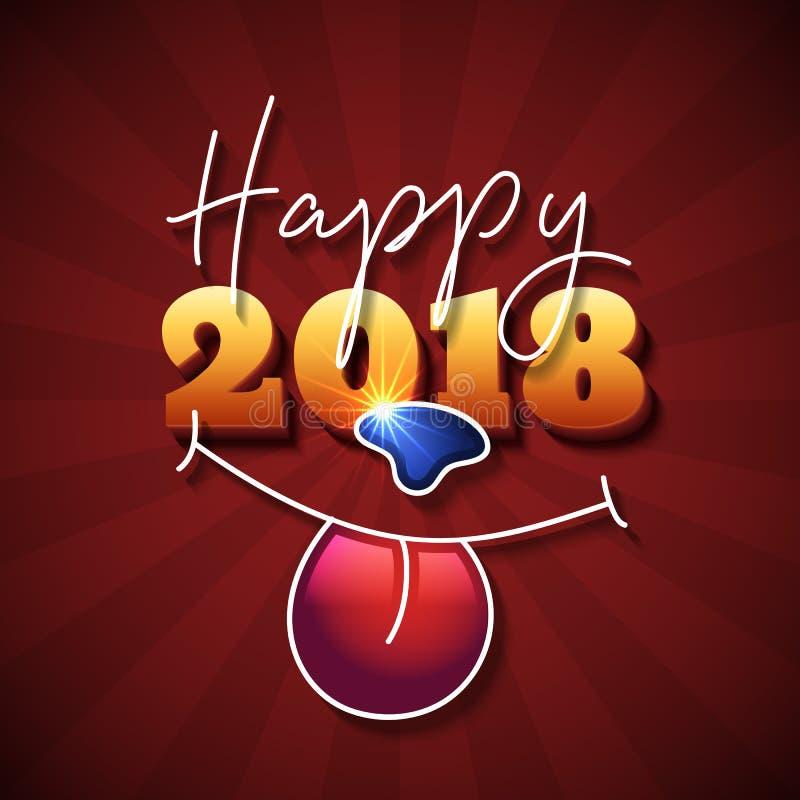 Китайский дизайн текста Нового Года 2018 иллюстрация вектора