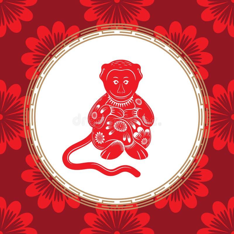 Китайский знак зодиака года обезьяны Красная обезьяна с белым орнаментом иллюстрация вектора