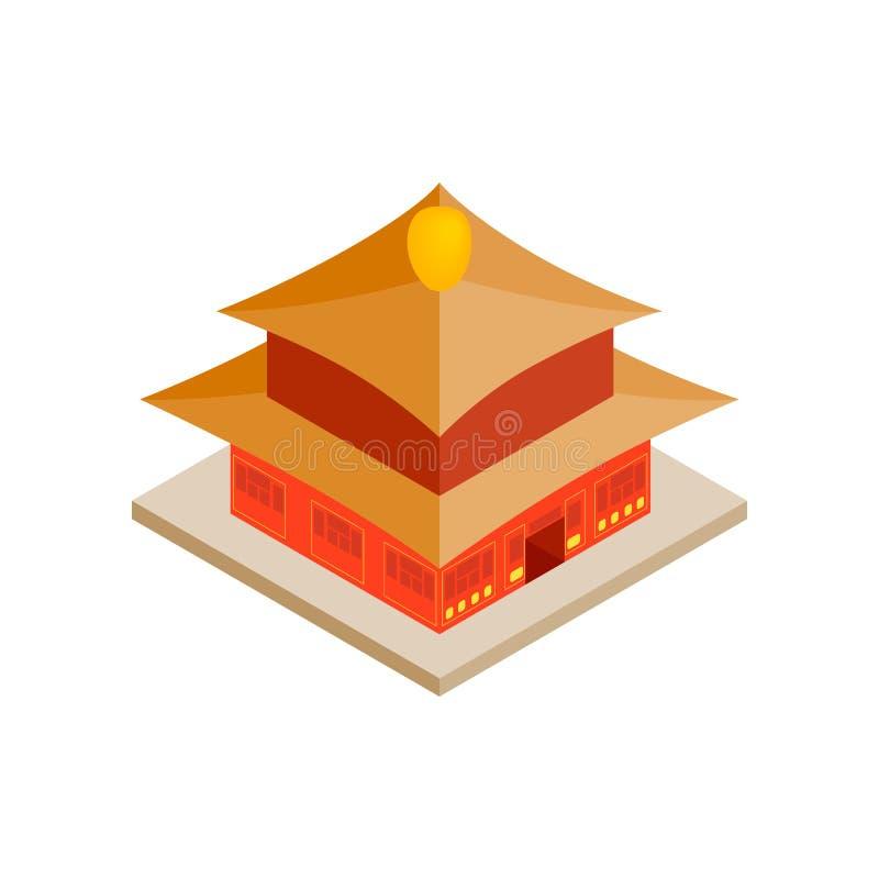 Китайский значок виска, равновеликий стиль 3d иллюстрация штока
