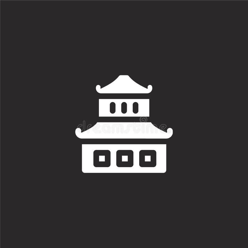 китайский значок дома Заполненный китайский значок дома для дизайна вебсайта и черни, развития приложения китайский значок дома о иллюстрация штока