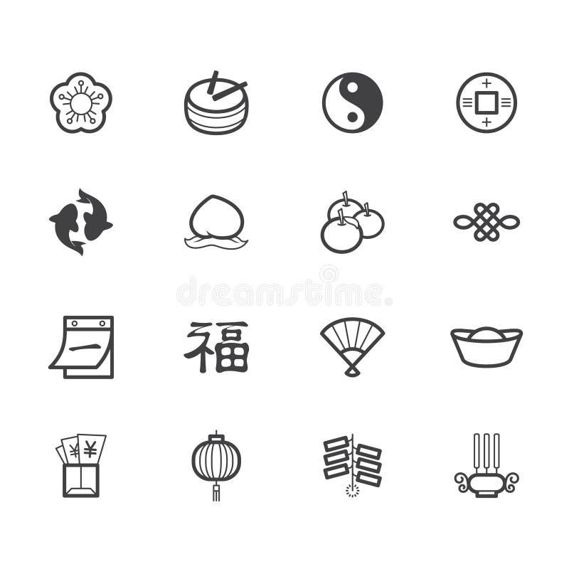 Китайский значок черноты Нового Года установил на белую предпосылку иллюстрация штока