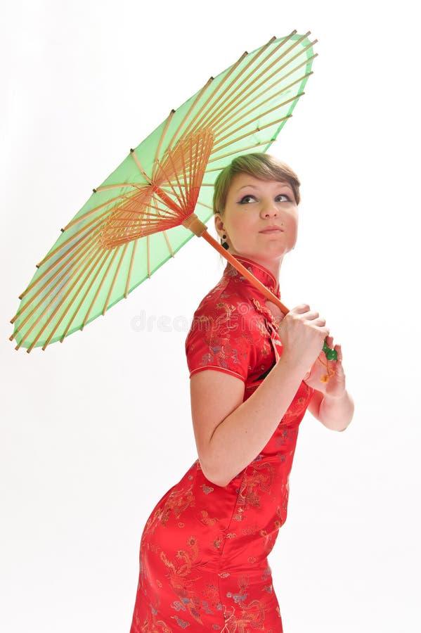 китайский зонтик девушки стоковые фотографии rf