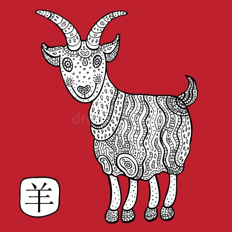Китайский зодиак. Животный астрологический знак. коза. иллюстрация вектора