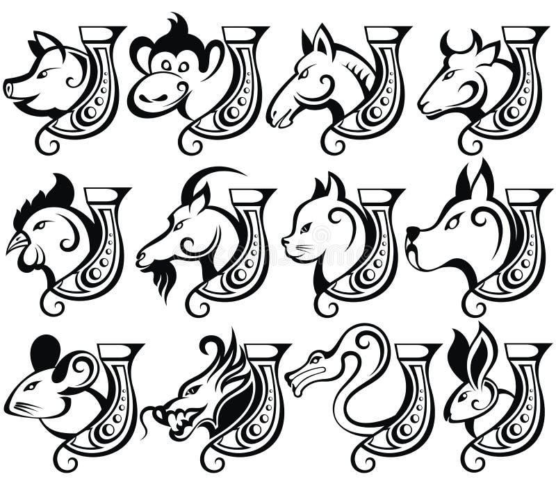 китайский зодиак знака иллюстрация вектора